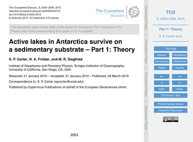 Active Lakes in Antarctica Survive on a ... by Carter, S. P.