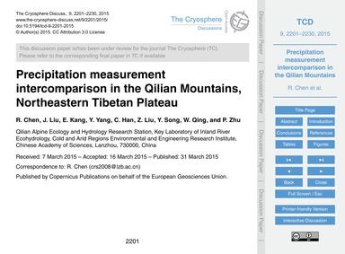Precipitation Measurement Intercompariso... by Chen, R.