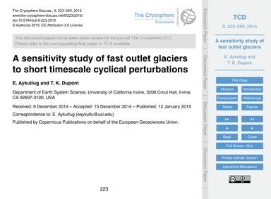 A Sensitivity Study of Fast Outlet Glaci... by Aykutlug, E.