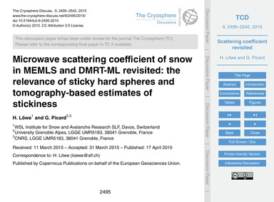 Microwave Scattering Coefficient of Snow... by Löwe, H.