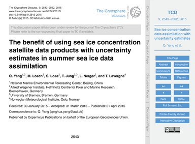The Benefit of Using Sea Ice Concentrati... by Yang, Q.