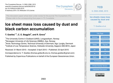 Ice Sheet Mass Loss Caused by Dust and B... by Goelles, T.