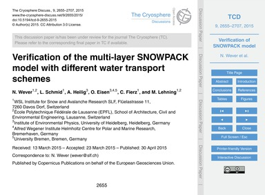 Verification of the Multi-layer Snowpack... by Wever, N.