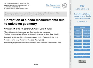 Correction of Albedo Measurements Due to... by Weiser, U.