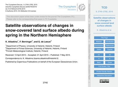 Satellite Observations of Changes in Sno... by Atlaskina, K.