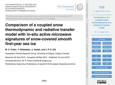 Comparison of a Coupled Snow Thermodynam... by Fuller, M. C.