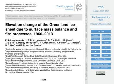 Elevation Change of the Greenland Ice Sh... by Kuipers Munneke, P.
