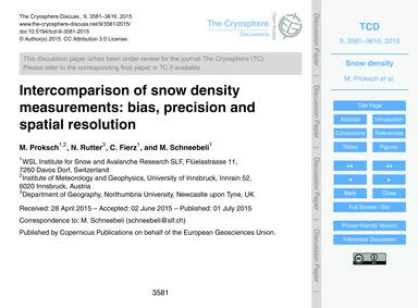 Intercomparison of Snow Density Measurem... by Proksch, M.