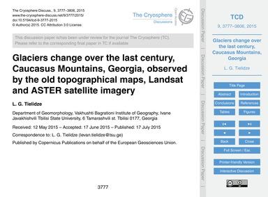 Glaciers Change Over the Last Century, C... by Tielidze, L. G.
