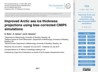 Improved Arctic Sea Ice Thickness Projec... by Melia, N.