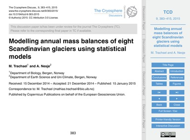 Modelling Annual Mass Balances of Eight ... by Trachsel, M.