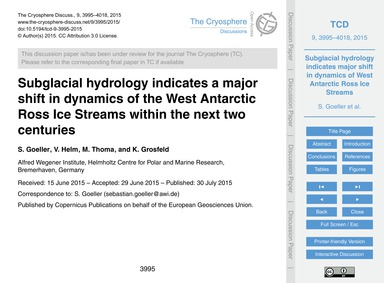 Subglacial Hydrology Indicates a Major S... by Goeller, S.
