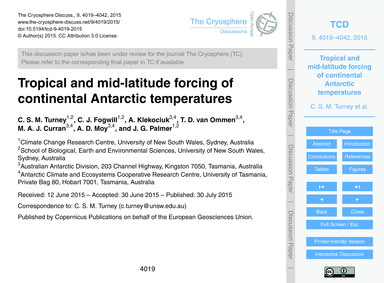 Tropical and Mid-latitude Forcing of Con... by Turney, C. S. M.