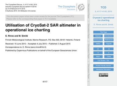Utilisation of Cryosat-2 Sar Altimeter i... by Rinne, E.