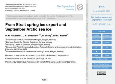 Fram Strait Spring Ice Export and Septem... by Halvorsen, M. H.