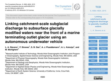 Linking Catchment-scale Subglacial Disch... by Stevens, L. A.