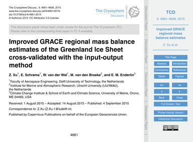 Improved Grace Regional Mass Balance Est... by Xu, Z.