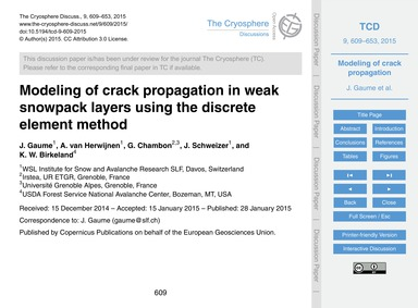 Modeling of Crack Propagation in Weak Sn... by Gaume, J.