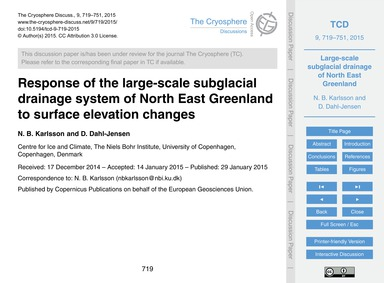 Response of the Large-scale Subglacial D... by Karlsson, N. B.