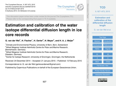 Estimation and Calibration of the Water ... by Van Der Wel, G.