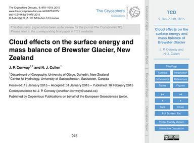 Cloud Effects on the Surface Energy and ... by Conway, J. P.