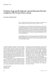 Evolution of Age Specific Dispersal: a G... by Johst, K.