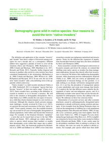 Demography Gone Wild in Native Species: ... by Méndez, M.