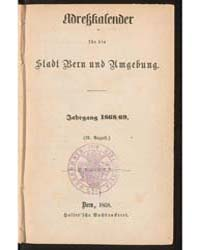 Adressbuch Der Stadt Bern, Document 1868... by Universitätsbibliothek Bern