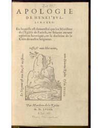 Apologie, Document Apologie by Bullinger, Heinrich
