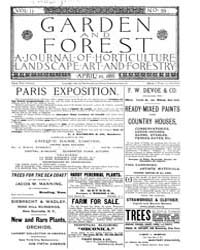 Garden and Forest Volume 2 Issue 59 Apri... by Charles S. Sargent