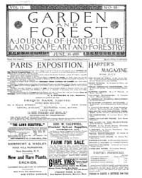Garden and Forest Volume 2 Issue 69 June... by Charles S. Sargent