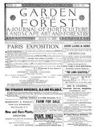 Garden and Forest Volume 2 Issue 73 July... by Charles S. Sargent