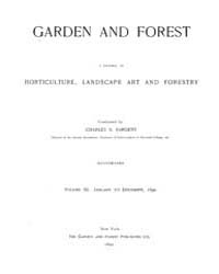 Garden and Forest Volume 3 Index by Charles S. Sargent