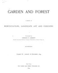 Garden and Forest Volume 7 Index by Charles S. Sargent