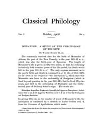 Classical Philology : 1906 ; Oct. No. 4 ... Volume Vol. 1 by Asmis, Elizabeth