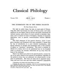 Classical Philology : 1913 ; Apr. No. 2 ... Volume Vol. 8 by Asmis, Elizabeth