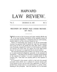 Harvard Law Review : 1888 Mar 15 No. 8, ... Volume Vol.1 by