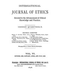 International Journal of Ethics : 1895 O... Volume Vol.6 by Richardson,henry,s.