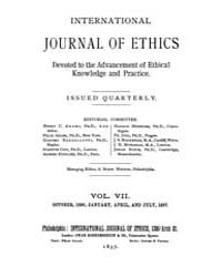 International Journal of Ethics : 1896 O... Volume Vol.7 by Richardson,henry,s.