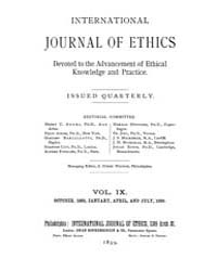 International Journal of Ethics : 1898 O... Volume Vol.9 by Richardson,henry,s.