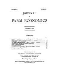Journal of Farm Economics : 1922 Jan. No... Volume Vol.31 by