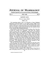 Journal of Mammalogy : 1921 May No. 2, V... Volume Vol.38 by