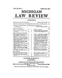 Michigan Law Review : 1922 Feb. No. 4, V... Volume Vol._20 by