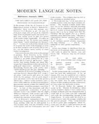 Modern Language Notes : 1891 Jan. No. 1,... Volume Vol. 6 by