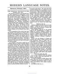 Modern Language Notes : 1901 Feb. No. 2,... Volume Vol. 16 by