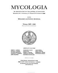 Mycologia : 1922 Jan. No. 1, Vol. 14 Volume Vol. 14 by