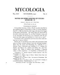 Mycologia : 1922 Nov. No. 6, Vol. 14 Volume Vol. 14 by