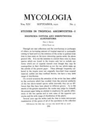 Mycologia : 1922 Sep. No. 5, Vol. 14 Volume Vol. 14 by