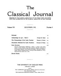The Classical Journal : 1912 ; Dec. No. ... Volume Vol. 8 by Budelmann, Felix