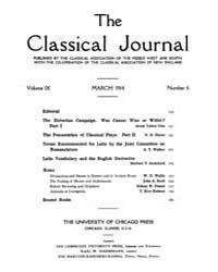 The Classical Journal : 1914 ; Mar. No. ... Volume Vol. 9 by Budelmann, Felix